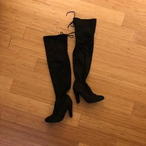Over the Knee Boots, black, heeled, suede